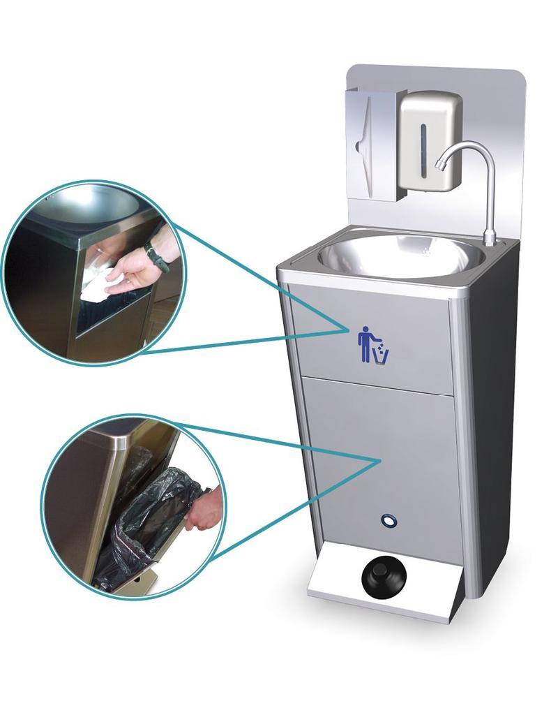 Fricosmos Mobile hand wash basin with integrated tanks backsplash