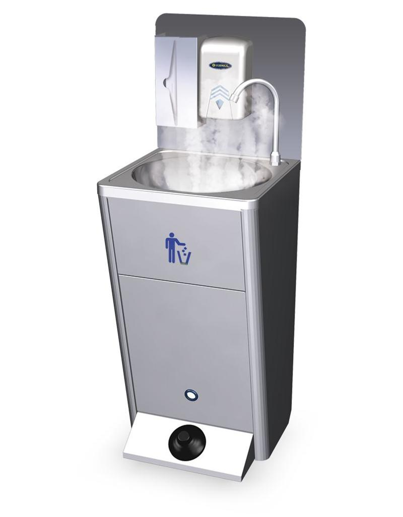 Optional hot water kit for mobile washbasin