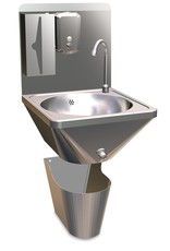 Wall-mounted hand wash basin with separated paperbin with button