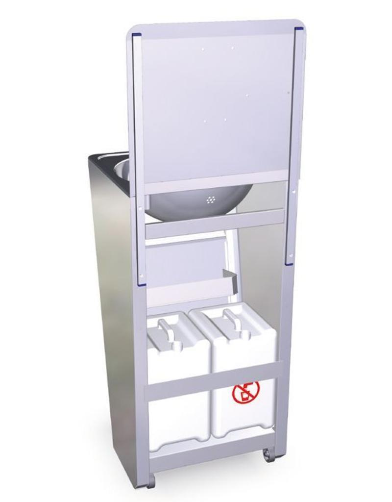 Fricosmos Mobile sink with built-in water tank splashguard (best-selling model).