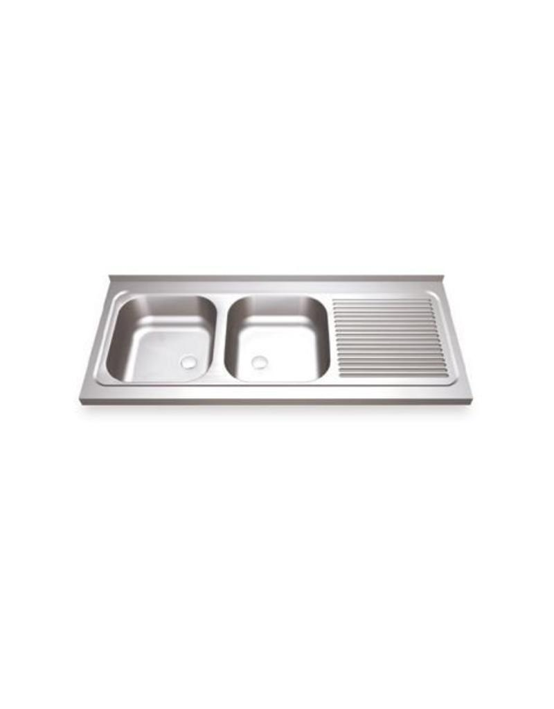 Sink Unit with two sinks and right drainboard