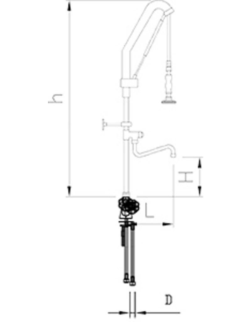 Shower tap with lift-up system and sink tap