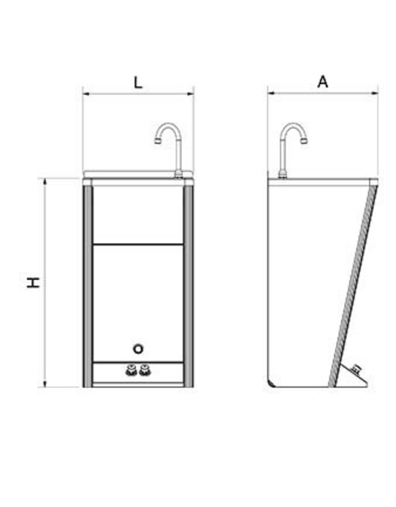 Mobile hand washbasin with two buttons for hot and cold water