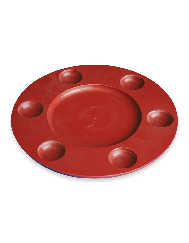 Round polyethylene serving board for 6 sauces