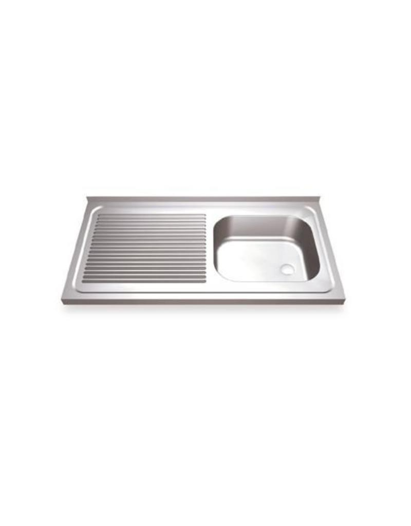 Wall mounted sink with draining board left with finishing