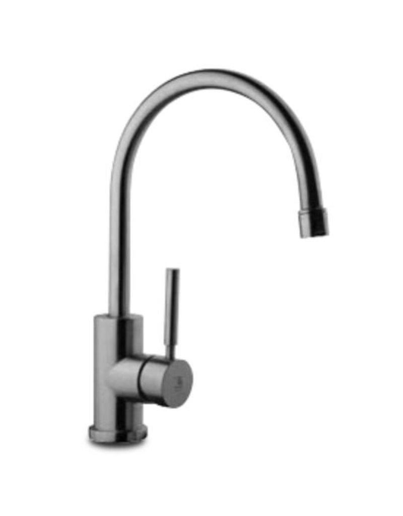 Stainless steel single lever gooseneck table tap
