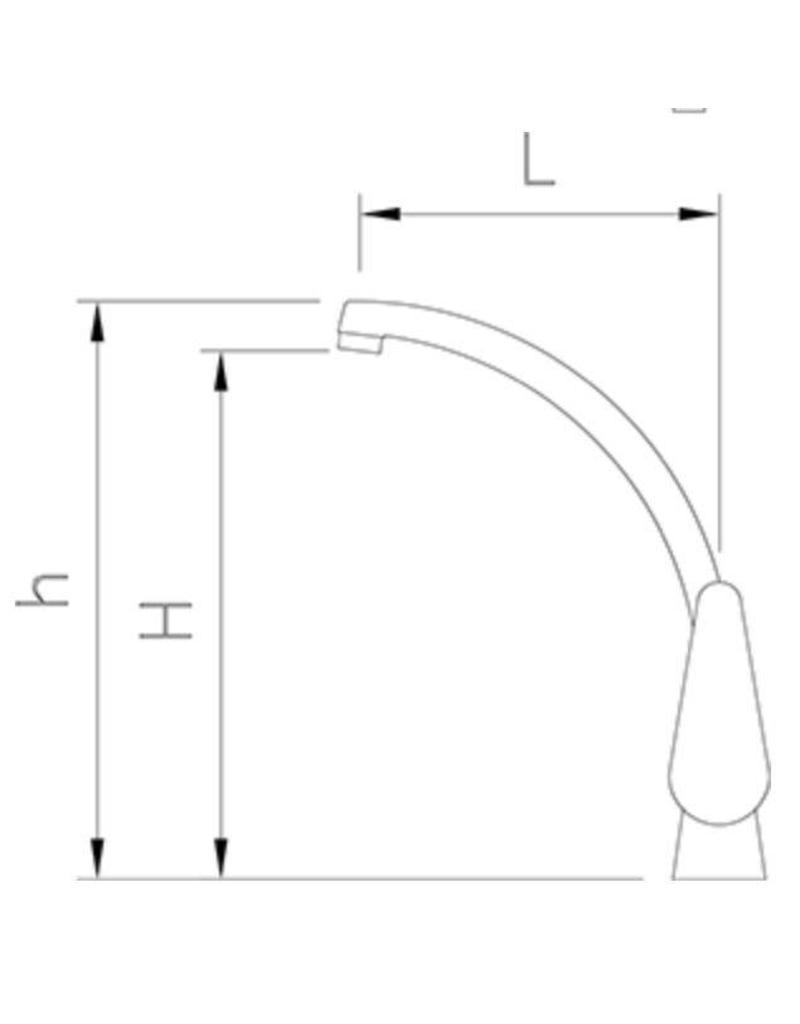 Fricosmos Spoelbak met eengreeps, hoge uitloop