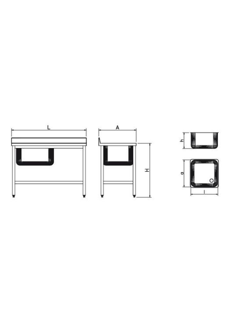 Spoeltafel met rechtse afdruipplaat