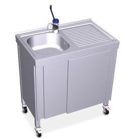 Mobiel en autonome wastafel met elektrisch systeem en boiler