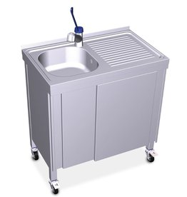 Mobile and autonomous sink with electrical system and boiler