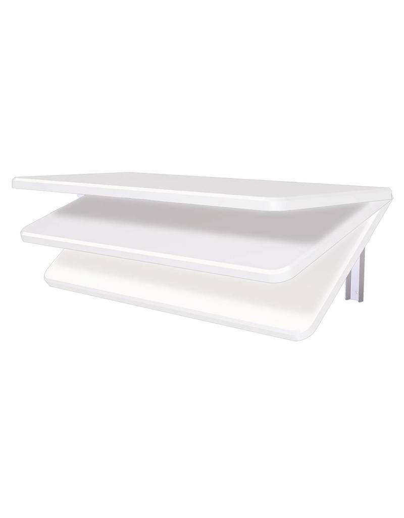 Plooibaar legbord met Polyethyleen blad, muurbevestiging