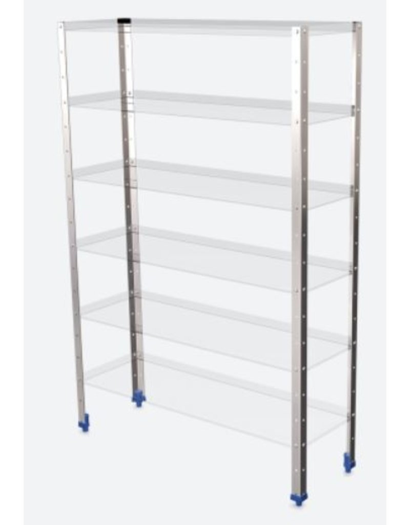 Stainless steel vertical support for modular shelving