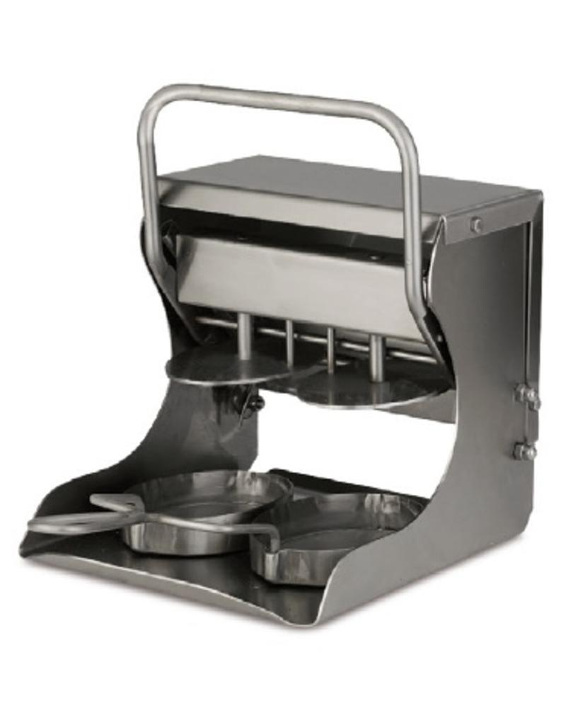 Hamburger press with round moulds