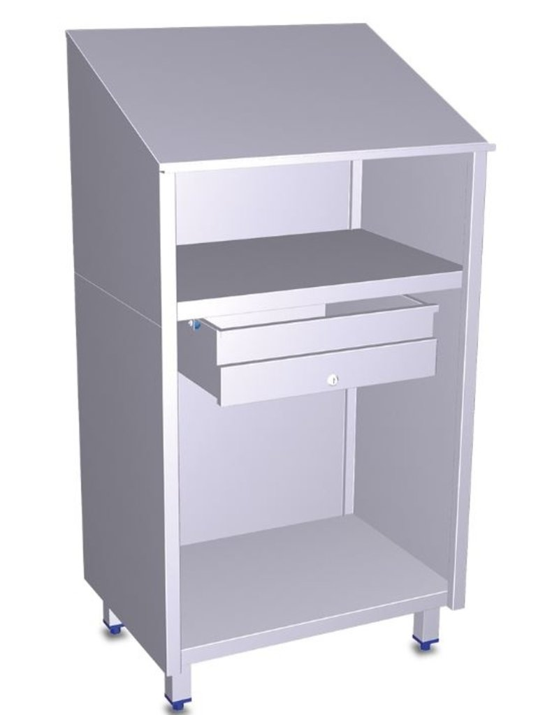 Fricosmos Stainless steel desk + lockable drawer