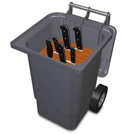 Container for knife transport with wheels