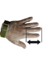 Long mesh gloves in stainless steel
