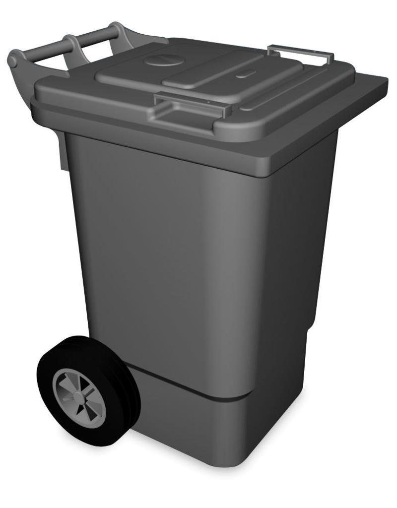 Afvalbak met klep en wielen