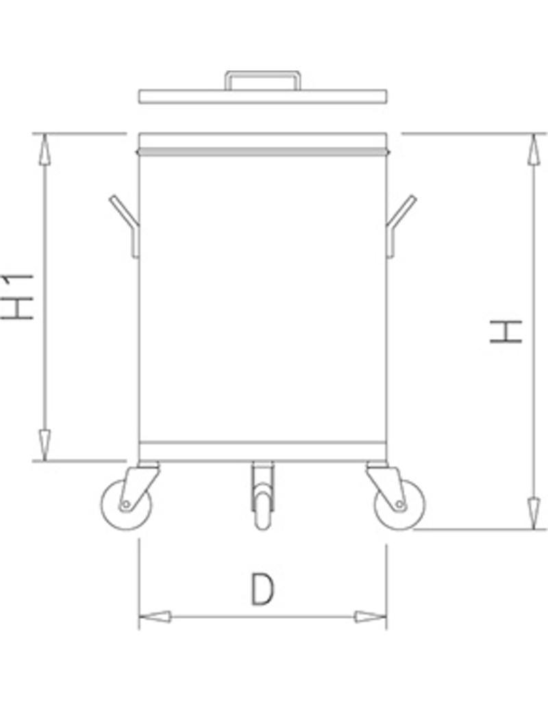Roestvrij staal container met deksel en wielen