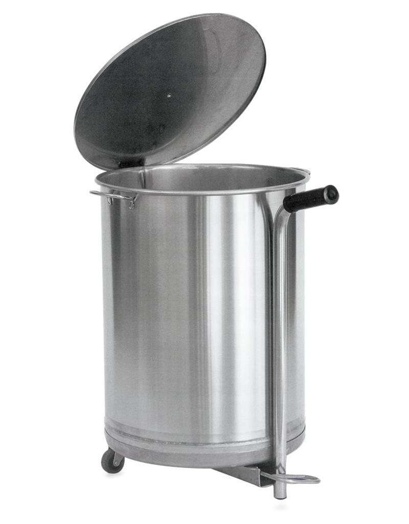 Waste bin stainless steel with pedal operation and wheels
