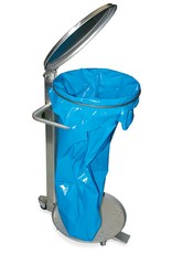 Garbage bag holder with flap and wheels