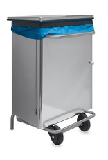 Dustbin in stainless steel with front opening