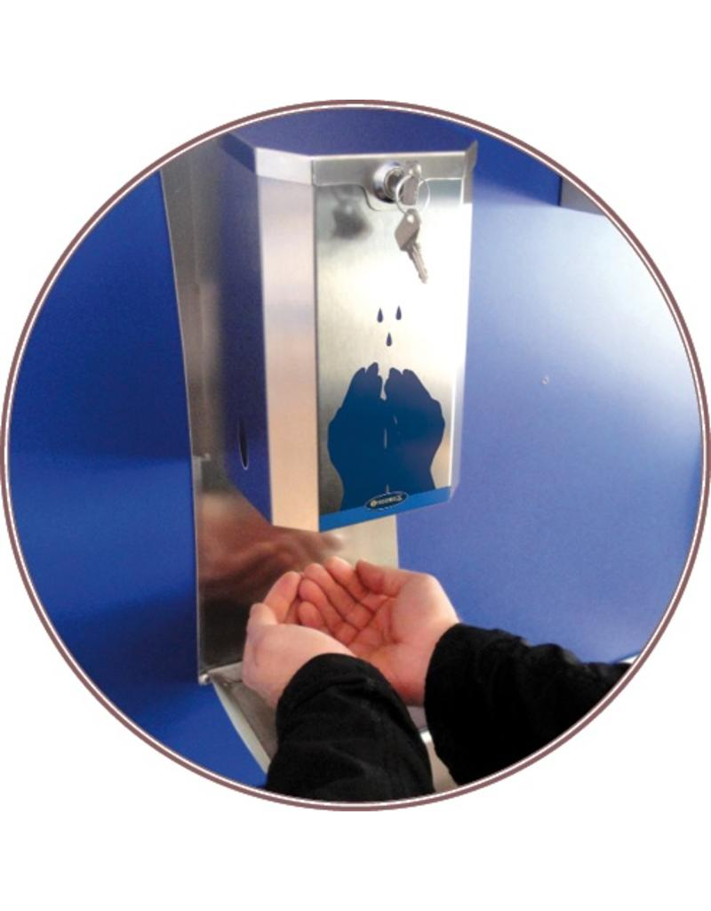 Electronically-operated stainless steel dispenser of hydroalcoholic gel