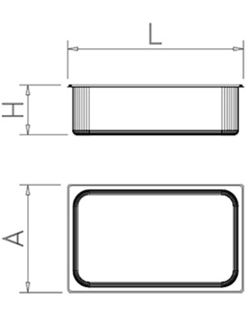 Gastronorm bak in polypropyleen - Model 1/6