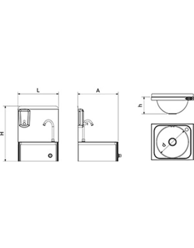 Sink with knee operation and rounded corners
