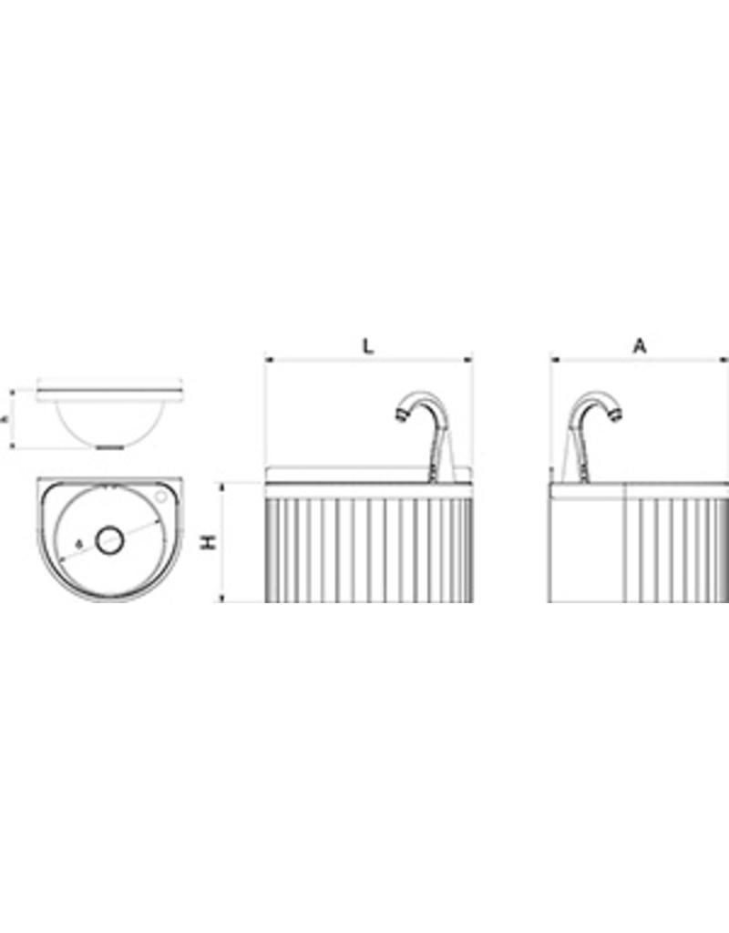 Ronde wasbak met elektronische bediening