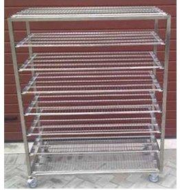Flat stainless steel bread cart