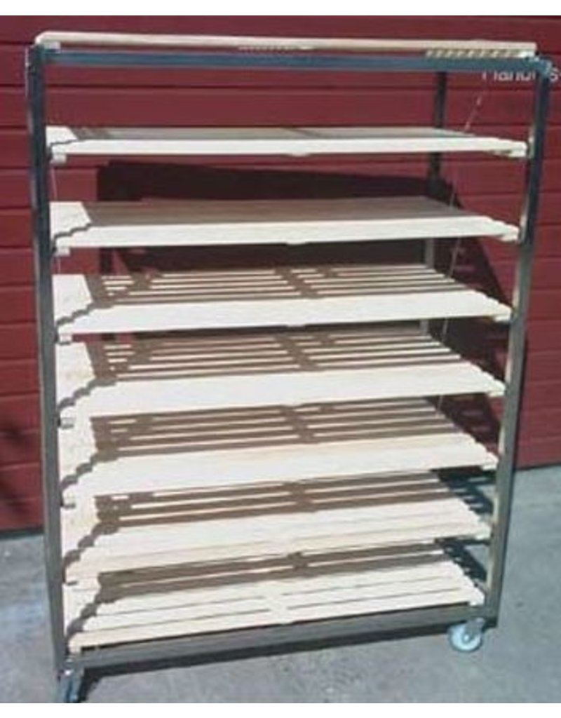 Flat stainless steel bread cart with beech grid