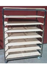Flat stainless steel bread trolley with beech grate Small