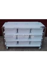 Raw materials station with 9 PVC bins 30L