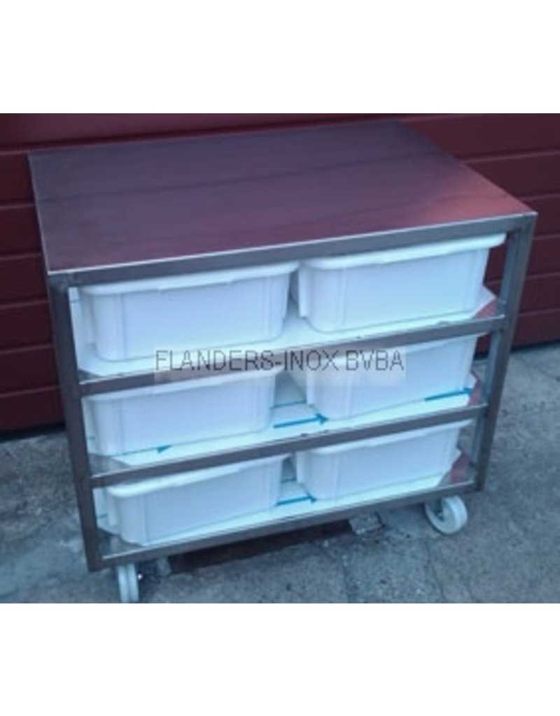 Raw materials station with 6 PVC bins 30L