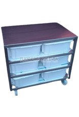 Raw materials station with 6 PVC containers 40L