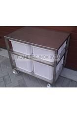Grondstoffenstation met 4 PVC-bakken  2x40L en 2x60L