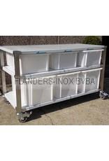 Grondstoffenstation met 6 PVC-bakken  3x40L en 3x60L
