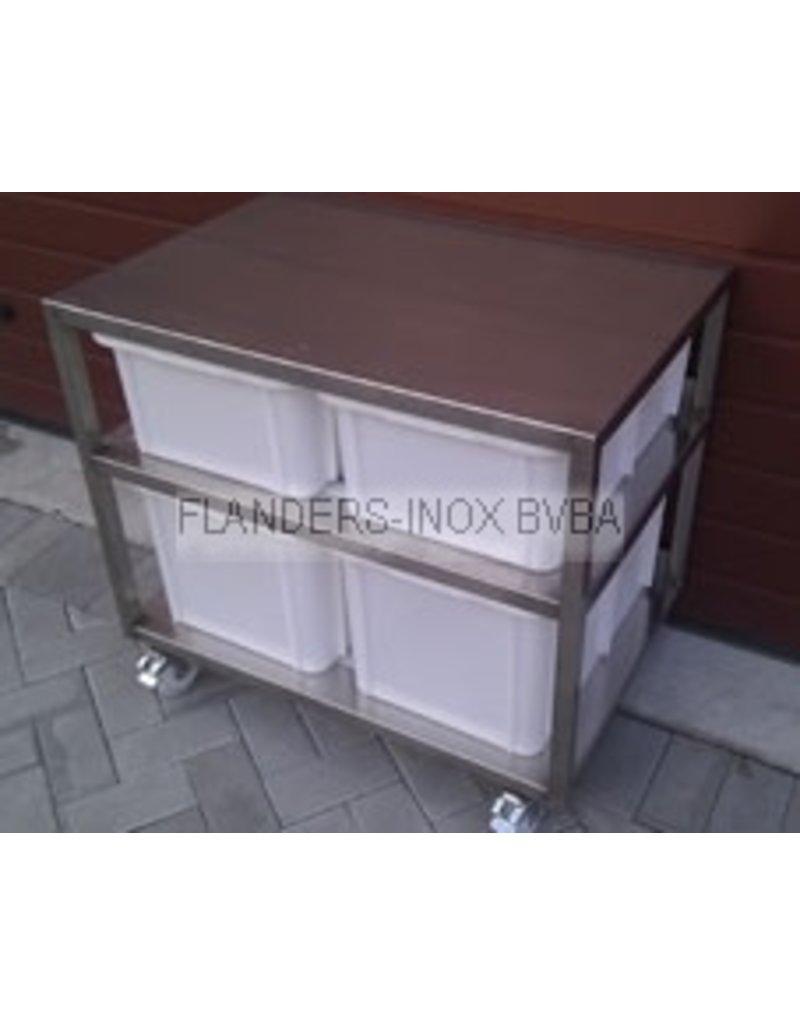 Grondstoffenstation met 4 PVC-bakken  2x30L en 2x60L