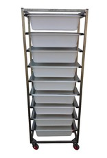 Raw materials tower with 9 containers with lids