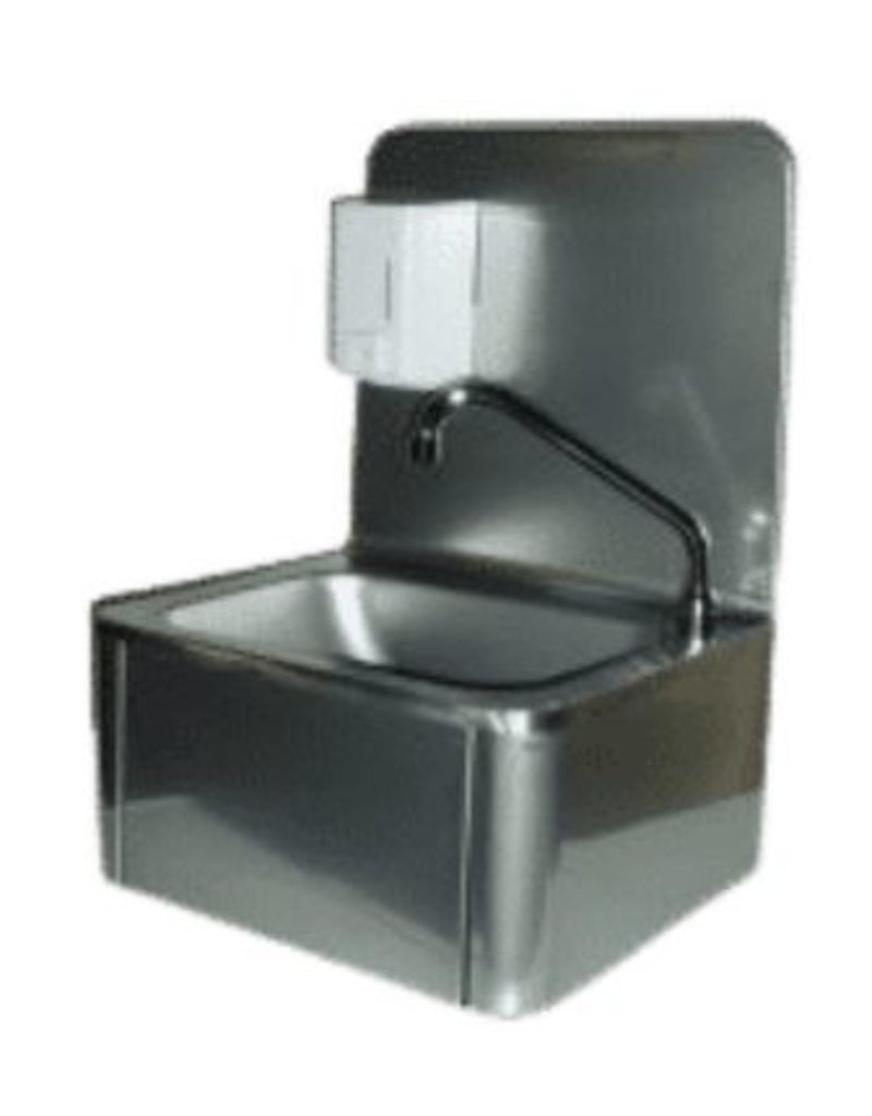 Seabiscuit line Hand washbasin with splash plate and soap dispenser