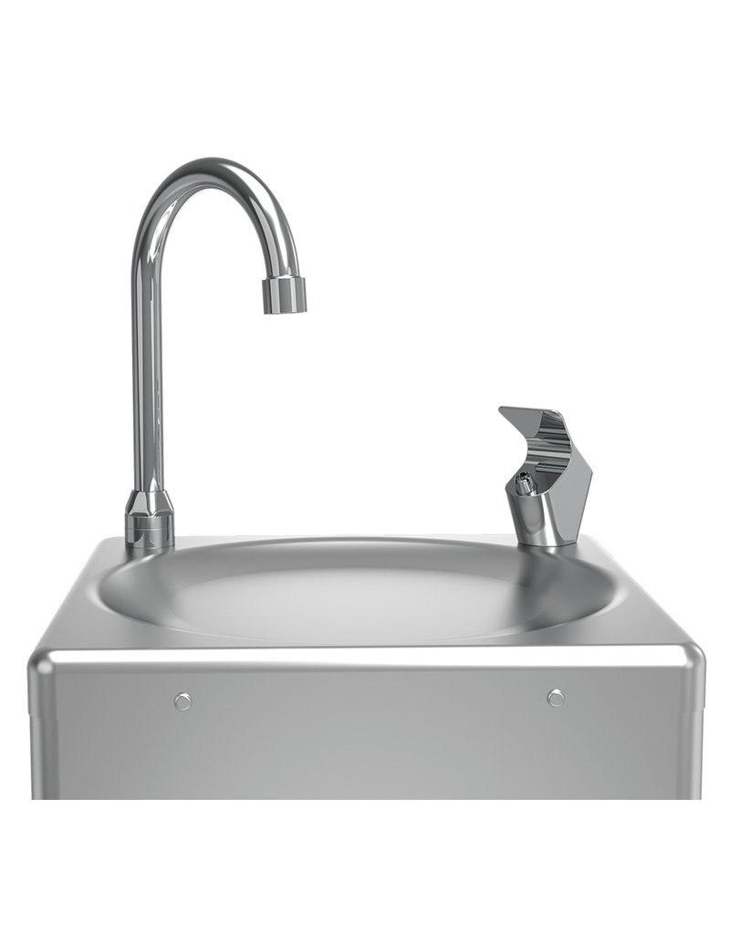 Freestanding pedal operated chilled drinking fountain
