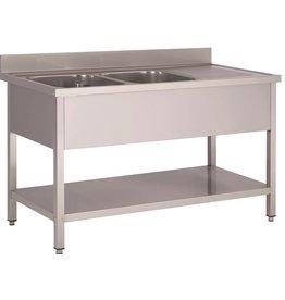 Washing-up basin 2 bins furniture 700mm depth bottom plate