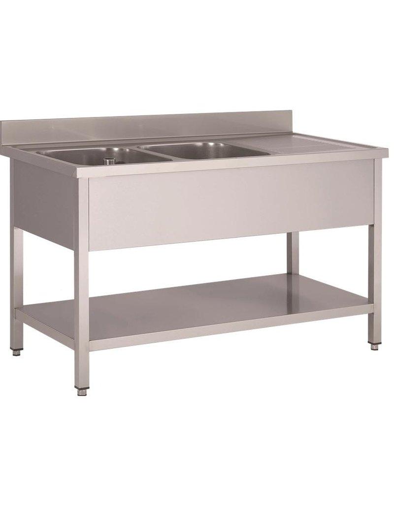 Afwasbak 2 bakken  meubel 700mm diepte  onderplaat