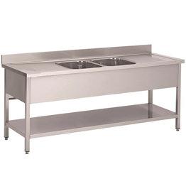 Afwasbak 2 bakken  meubel 700mm diepte onder plaat