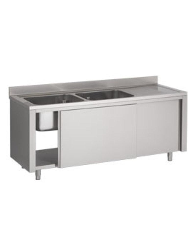 Afwasbak 2 bakken  meubel 600mm diepte op kast