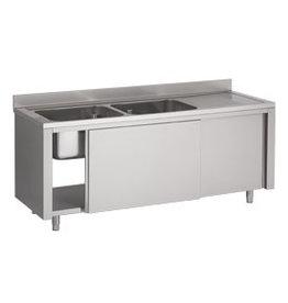 Afwasbak 2 bakken  meubel 700mm diepte op kast