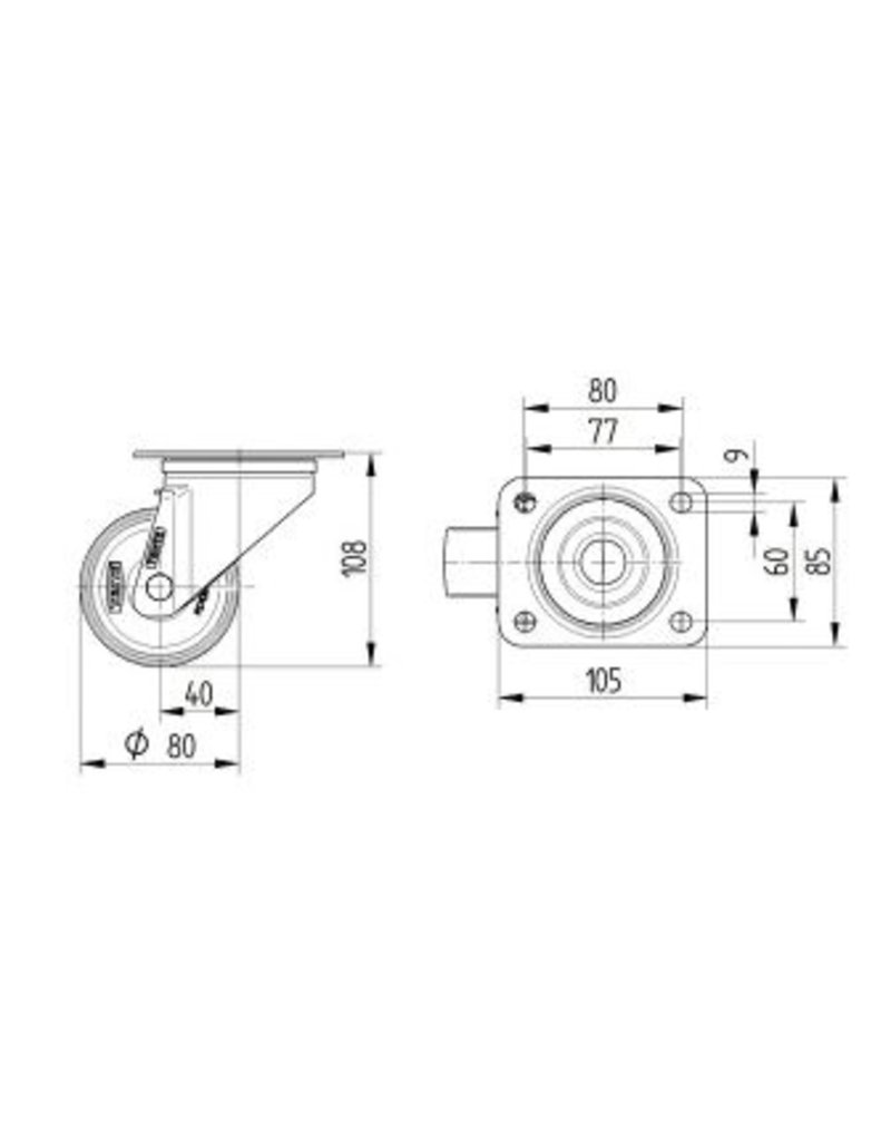Seabiscuit line Heat resistant wheels for rotary cart 80mm