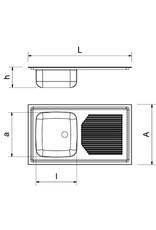 Ingebouwde spoelbak, afdruiprek rechts