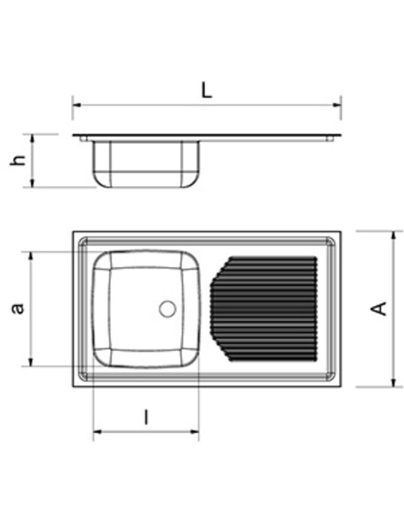 Ingebouwde dubbele spoelbak, afdruiprek rechts