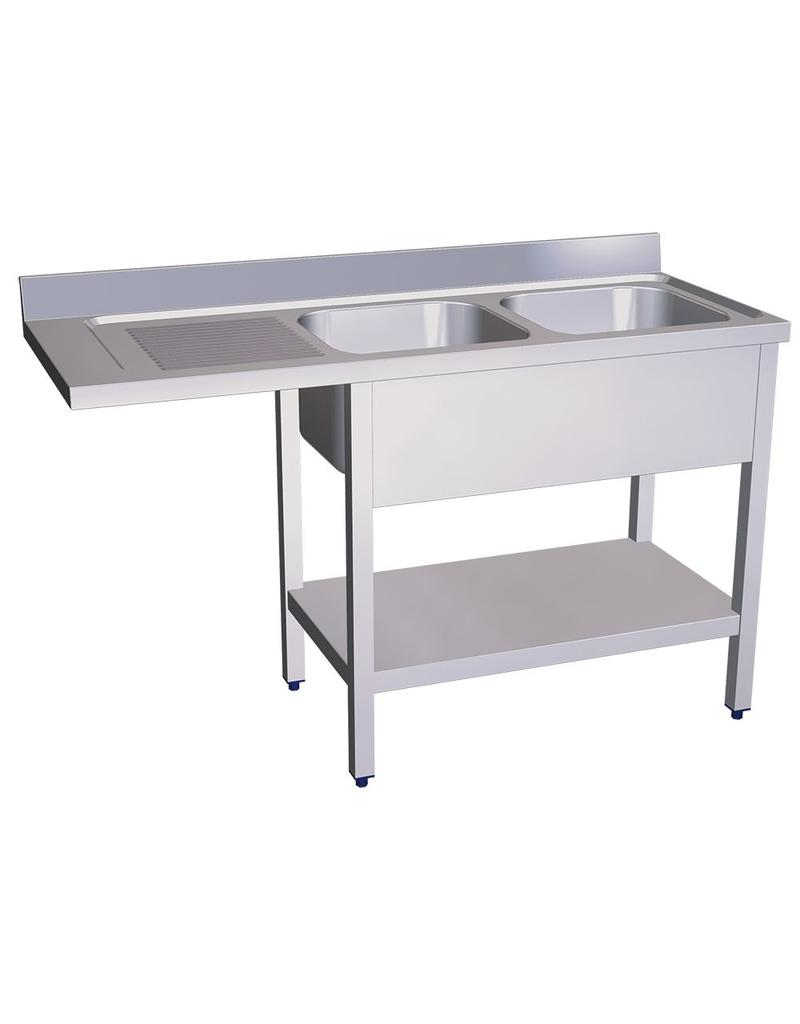 Double sink for dishwasher, left drainer